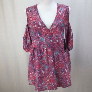 Lucky Brand Stripe Cold Shoulder Red Multi Top XL